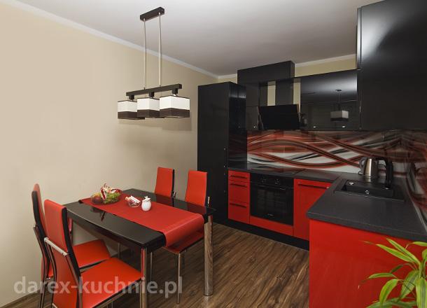 Kuchnia w czerwieni i czerni  Darex Szczecin